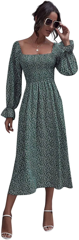 Floerns Women's Boho Floral Print Square Neck Flounce Sleeve A Line Long Dress