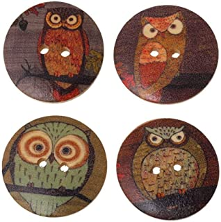 andy cool Premium Quality 25x Mixed Wood Buttons Owl Cartoon Pattern Sewing Scrapbook DIY - Random Color