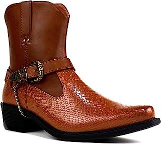 Bottes de cowboy à talon cubain avec boucle pour homme Taille 39-46