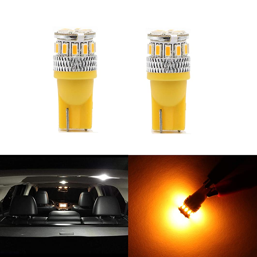 Replacement High Power T10 Wedge Amber Yellow 194 168 2825 175 W5W 194A LED Bulbs 3014 18 LED Lights Bulb Lamp for Front Side Marker light,Rear Side Marker Light,Interior Dome Light,License Plate …