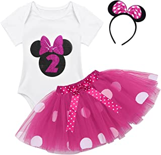 ACSUSS Infant Baby Girls 1st 2nd Birthday Party Outfit Mini Mouse Costumes Polka Dots Tutu Skirt Clothing Set