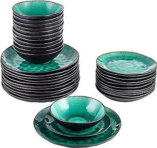 Dinnerware Sets 36 قطعة الفخار الحجري مظهر خمر السيراميك الأخضر عشاء مجموعة مع 12 * لوحة العشاء، لوحة الحلوى، وعاء مجموعة ...