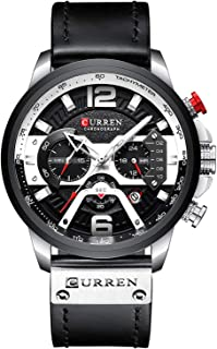 CURREN Military Chronograph Fashion Trend Multi-Function Waterproof Quartz Watch Leather Strap