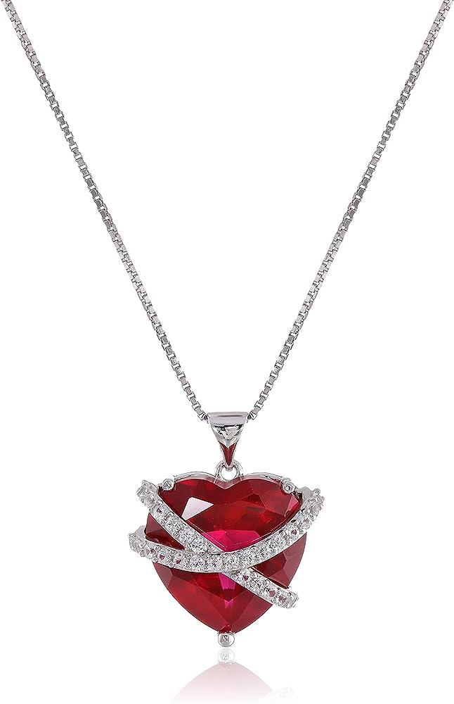 Amazon collection collana in argento sterling 925 con ciondolo a forma di cuore con zaffiro bianco P34597CRSSCW