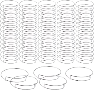 UPINS 75 Pcs Expandable Bangle Blank Bracelets Metal Adjustable Wire Bracelets for Women Jewelry Making, Silver