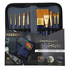 MEEDEN 10 Pcs Paint Brush Set Nylon Hair Includes a Carrying Case for Acrylic Watercolor Painting, for Artists, Adults & Kids