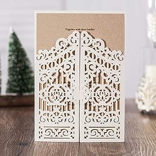 WISHMADE 1 Sample White Laser Cut Gate Fold Invites Kit for Wedding, Printable Blank Invitation for Quincenera Birthday Engagement Graduation Party Housewarming Paraboda