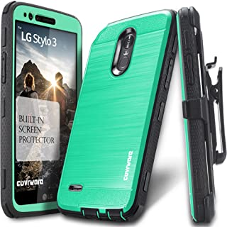 LG Stylo 3 / Stylo 3 Plus Case, COVRWARE [Iron Tank] Built-in [Screen Protector] Heavy Duty Full-Body Rugged Holster Armor [Brushed Metal Texture] Case [Belt Clip][Kickstand] for LS777, Teal