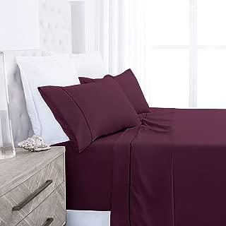 Beckham Hotel Collection Luxury Soft Brushed 1700 Series Microfiber Sheet Set - Hypoallergenic - King - Purple