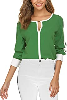 Women Cut Out Slit Long Sleeve Round Collar Contrast Color Blouse Tops Summer Hawaiian Shirts