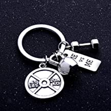 NATFUR Alloy Keyring Strong is Beautiful I Can Dumbbell Weight Fitness Gym Keychain Key-Chain for Women Cute Holder Perfect for Gift Elegant | Color - Silver Design 3