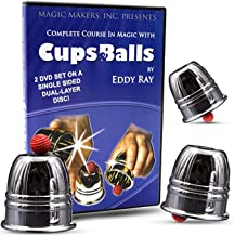 Magic Makers Complete Course in Magic with Cups & Balls DVD- Professional Performance Grade Polished Aluminum Cups and No-Bounce Balls Included