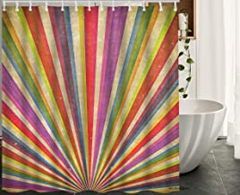 HGOD DESIGNS Carnival Shower Curtain,Vintage Multicolored Sunbeams Grudge Background Waterproof Shower Curtain Bathroom Decor Set with Hooks Size 66x72 Inch
