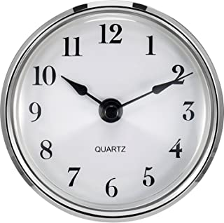 Hicarer 3-1/8 Inch (80 mm) Quartz Clock Fit-up/Insert with Arabic Numeral, Quartz Movement (Silver Trim)