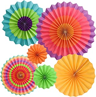 M MOOHAM Hanging Paper Fans - 6 Pcs Party Decoration Hanging Paper Fans Set Round Pattern Paper Garlands Decoration for Party Birthday Events Accessories (Multi)