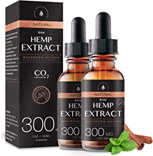 (2-Pack) Raw Hemp Oil - 300MG - Cinnamint Flavor - Enhanced Efficacy, Made in USA - Rich in Omega 3-6-9 Fatty Acids, Koshe...