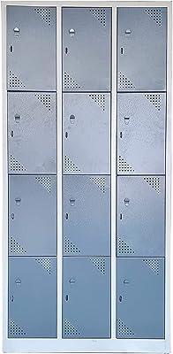 LAXMI KAPAT 12 Locker Metal Powder Coated Industrial Locker Cabinet with Staple Locking (Light Gray, Dark Gray, 75x36x19 Inches)