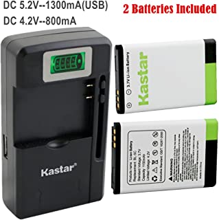 Kastar BL-5C Battery 2-Pack and Intelligent Mini Travel Charger for Shortwave All Hazard Radio, V-115 Portable Shortwave Transistor Radio AM/FM Stereo, Meloson Enhanced Portable AM FM Weather Radio