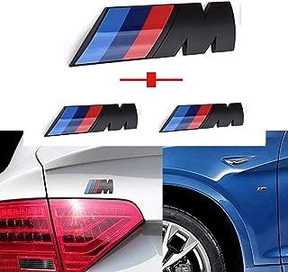 Haocc Loud M Black 3pcs Tri Color Fender Side +Rear Trunk Emblems Logo Decal Badge Sticker for All BMW