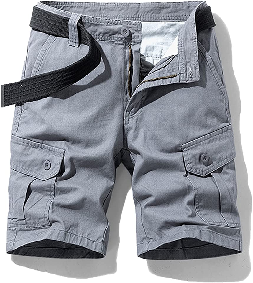 Men's Stretch Cargo Shorts Relaxed Fit Multi Pocket Cargo Shorts Multi-Pockets Casual Outdoor Shorts Not Belt (32,Gray)