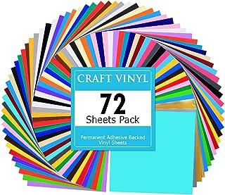 Lya Vinyl 72 Assorted Colors Permanent Adhesive Vinyl Sheets 12 x 12 inchs for Decor..