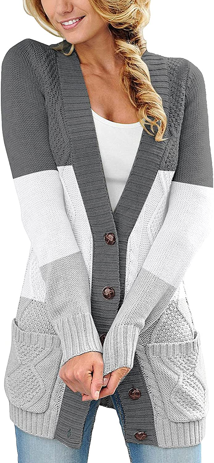 luvamia Womens Long Sleeve Open Front Buttons Cable Knit Pockets Sweater Cardigan