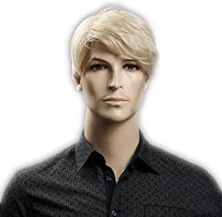 GOOACTION Male Short Straight Blonde Wig for Men Synthetic Fiber Halloween Cosplay Party Hair Wigs