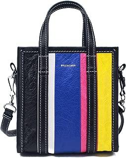 Lambskin Leather XXS Bazar Stripe Shopper Handbag Black