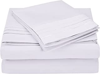 Superior 3-Line Embroidered Sheets, Luxurious Silky Soft, Light Weight, Wrinkle Resistant Brushed Microfiber, Twin XL Size...