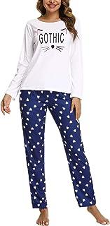 Akalnny Ensemble Pyjama Femmes Coton Imprimé Manche Long Haut Et Bas Pantalon Vêtement d'Intérieur Femme,pour Toutes Les S...