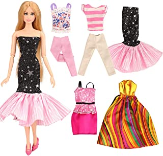BARWA 5 Sets Doll Clothes Casual Wear Tops Pants Outfits Party Dress for 11.5 inch Girl Doll