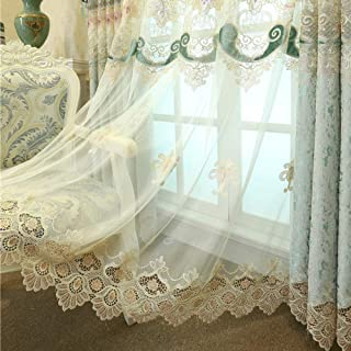 pureaqu Semi Sheer Voile Curtain Panels 96 Inches Long for Bedroom European Floral Embroidered Lace Bottom Curtain Metal Grommet Sheer Draperies for Villa/Living Room 1 Panel W52 x L96 Inch
