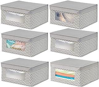 mDesign boite de rangement empilable en tissu pour habits, etc. (lot de 6) – bac de rangement moyen à fenêtre & couvercle ...