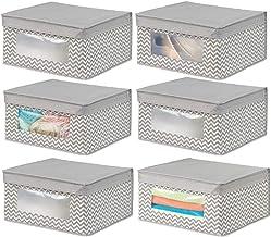 mDesign Juego de 6 Cajas de Tela apilables para Guardar Ropa y más – Cajas con Tapa Medianas con Ventana Transparente – Id...