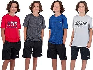 تی شرت های 4-بسته پسرانه جوانان دارای عملکرد تنفس سریع و تنفس فعال