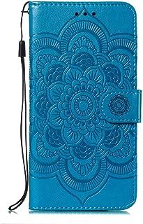 iPhone X/iPhone XS ケース, OMATENTI 高級感PUレザー 曼荼羅の花 押し花柄 落下防止 財布型 カバー, 衝撃吸収 落下防止 防塵 マグネット開閉式 プロテクター iPhone X/iPhone XS 対応, 青