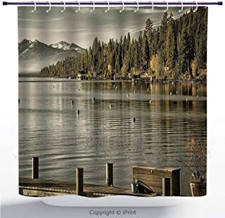 MyCCIC Funky Shower Curtain/Forest,Trees at Lakeside Carnelian Bay Tahoe USA Boardwalk Tranquil Scene,Green Sage Green/Bathroom Shower Curtains Deasign
