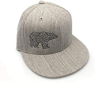 Men's Hat - Bear Made of Triangles - Men's Flat Bill and Curved Bill Fitted & Snapback Options Available