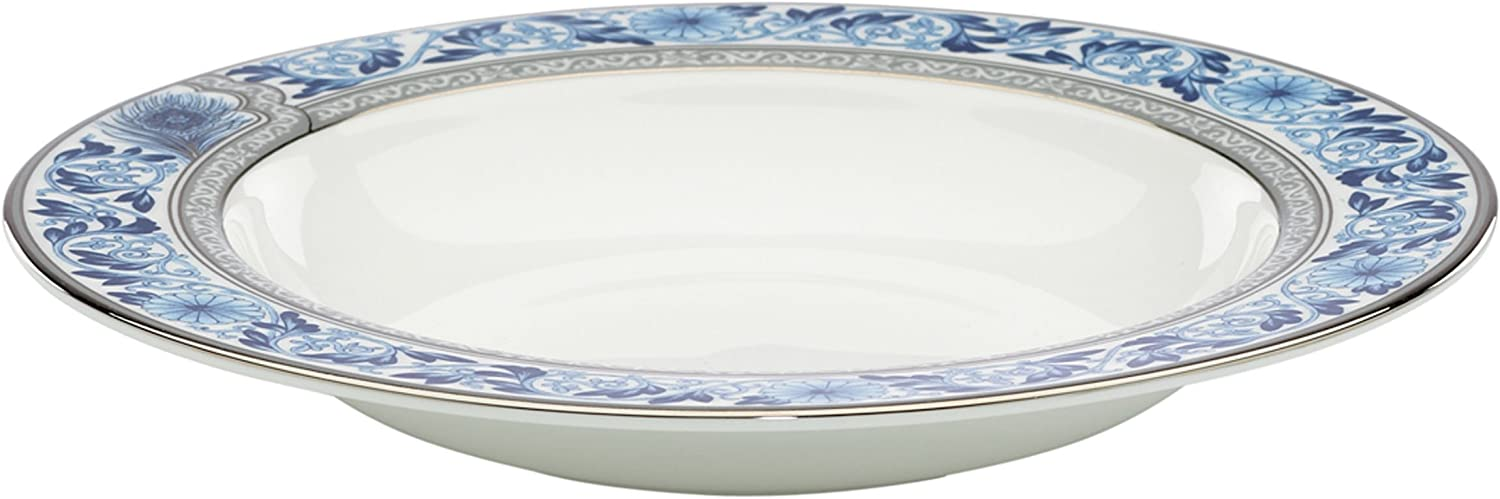Spring new work Finally popular brand Lenox Marchesa Couture Pasta Rim Whit Bowl Soup Sapphire Plume