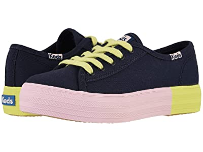 Keds Kids Triple Kick (Little Kid/Big Kid) (Navy Block Foxing) Girl