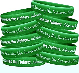Fight Like a Girl Supporting, Admiring, Honoring Silicone Wristband Bracelet (10 Pack)