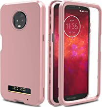 AMENQ Moto Z3 Play Case, Moto Z3 Case, 3 in 1 Hybrid Heavy Duty Shockproof with Rugged Hard PC and TPU Bumper Protective Armor Phone Cover for Motorola Moto Z Play (3nd Gen) 2018 (Rose Gold)