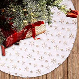 "Dremisland Christmas Tree Skirt 36"" Large White&Gold Luxury Faux Fur Tree Skirt with Snowflakes Super Soft Thick Plush Tre..."