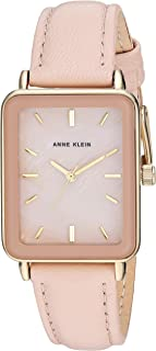 Anne Klein Women's Gold-Tone and Leather Strap Watch