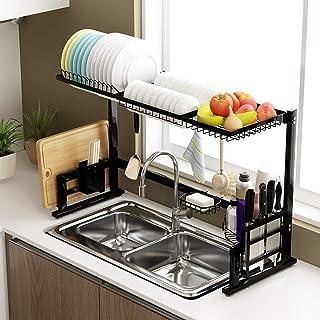 Mioloe Organizador ajustable del fregadero de cocina del escurridor del tenedor del estante del escurridor del plato del acero inoxidable