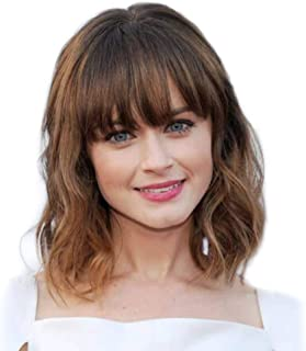DreamSoul Short Curly Wavy Bob Wigs With Air Bangs Shoulder Length Synthetic Natural Black Mix Brown wigs for women
