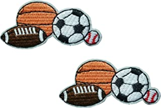 2 small pieces BALL SPORTS GAMES Iron On Patch Applique Motif Fabric Children Football Baseball Basketball Rugby Soccer Decal 2.1 x 1.1 inches (5.3 x 2.8 cm)