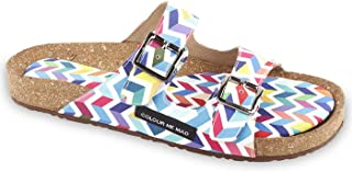 Colour Me Mad Multicolour Printed, Natural Cork, Washable, All Weather, Vegan, Made in India, PETA Certified, Changeable Insole, Women Sandals (Slider)