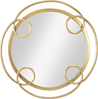 ST.LORIAN Decorative Round Metal Floral Pattern Circle Hanging Wall Mirror,Decor for Home,Bedroom,Bathroom,Living Room and Entryway(18