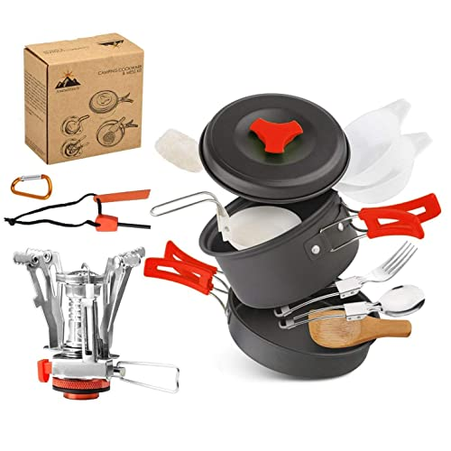 eabde467e6c AnimaMiracle 14 15 Pcs Camping Cookware Set Hiking Camping Backpacking Gear    Camping Outdoors Survival